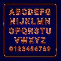 Alfabeto de ouro com efeito de lâmpada de néon vetor