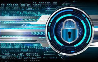 Cadeado fechado no fundo digital, segurança cibernética vetor
