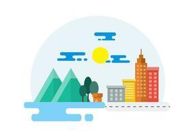 Ilustração da paisagem rural e da cidade vetor