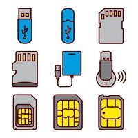 Drives Flash e conjunto de ícones de Smartphone Sim Cards vetor