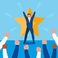 homens de negócios bem sucedidos comemorando com estrela
