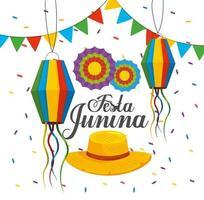 lanternas com banner e flores para festa junina