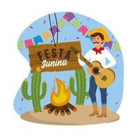 homem usando chapéu com guitarra e festa banner