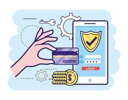 mão com cartão de crédito e smartphone com senha