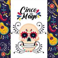 cartão mexicano com decoração tradicional do crânio vetor