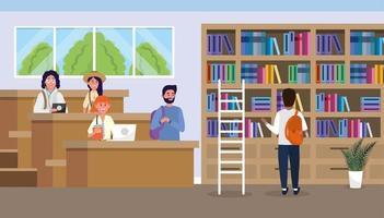 alunos da biblioteca da universidade com livros didáticos