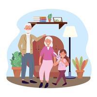 mulher velha e homem com menina e plantas