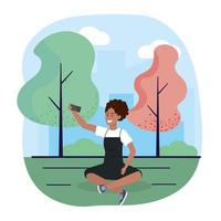 mulher com trechnology de smartphone e assentos com árvores vetor