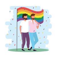 casal de homens junto com a bandeira LGBTQ arco-íris