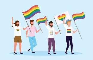 homens com bandeira de arco-íris e coração para liberdade lgbt vetor