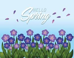 primavera flores plantas com folhas de beleza vetor