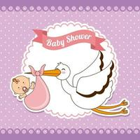Design de saudação de chuveiro de bebê vetor