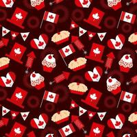 Padrão sem emenda de elementos de dia do Canadá vetor