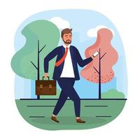 empresário com tecnologia smartphone e roupas elegantes