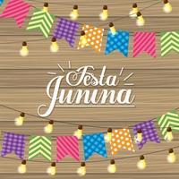 banner de festa e luzes para festa junina