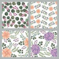 Conjunto de padrões florais botânicos