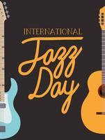 cartaz do dia de jazz com guitarras vetor