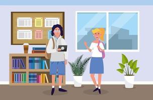 menino e menina com tablet educação na sala de aula vetor