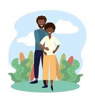 sorriso mulher e homem casal grávida de plantas