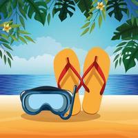 Praia de verão e férias vetor