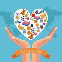 Projeto de caridade e doação vetor