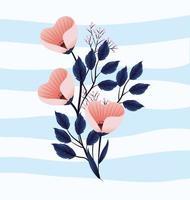 plantas de flores tropicais bonitos com folhas vetor