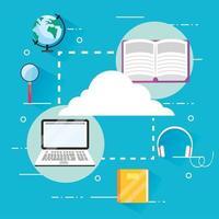 livros de educação com tecnologia para laptop vetor