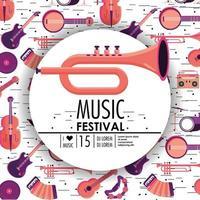 evento de cornetas e instrumentos para o festival de música vetor