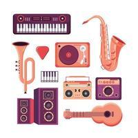 definir instrumentos profissionais para tocar no festival de música vetor