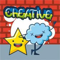 cartão de ideia criativa com estrela e nuvem