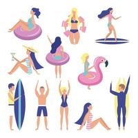 conjunto de pessoas de horário de verão