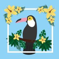 pássaro tucano exótico tropical em flores de galho de árvore