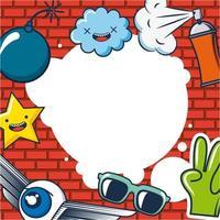 cartão de ideia criativa com nuvens, óculos, olho alado, mão, estrela, bomba e spray