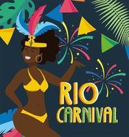 dançarina de menina com fantasia e fogos de artifício para o carnaval vetor