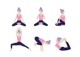 conjunto mulher saudável prática pose de ioga vetor