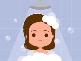 Menina tomando banho vetor