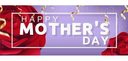 Ilustração linda feliz dia das mães com rosas e confetes