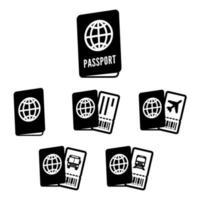 Conjunto de ícones de passaporte vetor