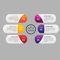 Elemento de infográfico de negócios gradiente crescimento com opção ou etapas vetor