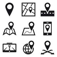 Localização geográfica e pinos de mapa vetor