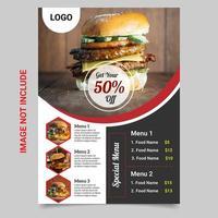 Menu de restaurante, folheto, modelo de design de folheto