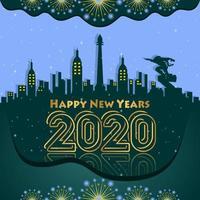 Feliz ano novo 2020 fundo gradação verde vetor
