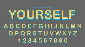 Design de tipografia em negrito amarelo listras vetor