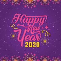 Saudação de feliz ano novo de tipografia 2020 vetor