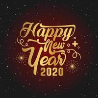 Feliz ano novo saudação script vermelho vetor