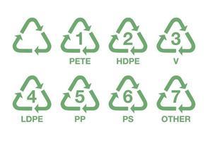 Conjunto de símbolos de reciclagem de plástico. vetor