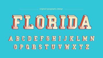 Amarelo velho estilo colorido 3D bold (realce) tipografia vetor
