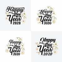 Conjunto de cartaz minimalista de ano novo preto e dourado vetor
