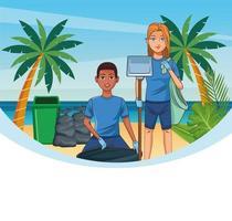 Adolescentes, limpeza de praia vetor