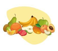 Desenhos de deliciosas frutas vetor